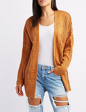 Shaker Stitch Cable Knit Cardigan