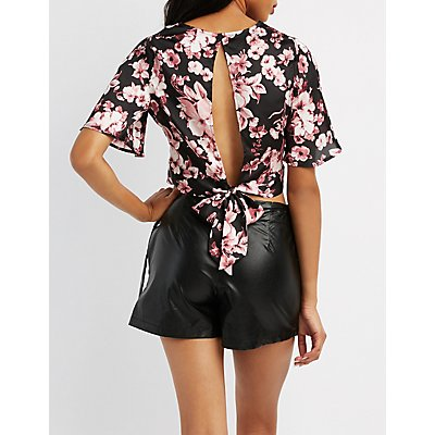 Floral Tie-Back Crop Top