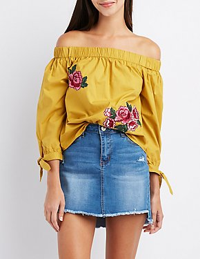 Floral Patch Off-The-Shoulder Top