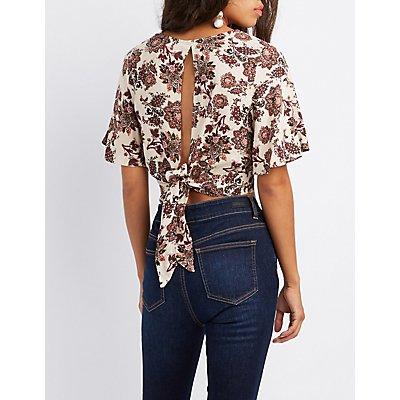 Floral Tie-Back Crop Top