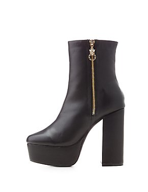 Square Toe Platform Booties