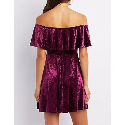 Velvet Ruffle Off-The-Shoulder Skater Dress