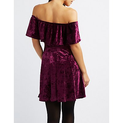 Velvet Ruffle Off-The-Shoulder Skater Dress