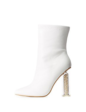 Pearl & Lucite Heel Pointed Toe Booties