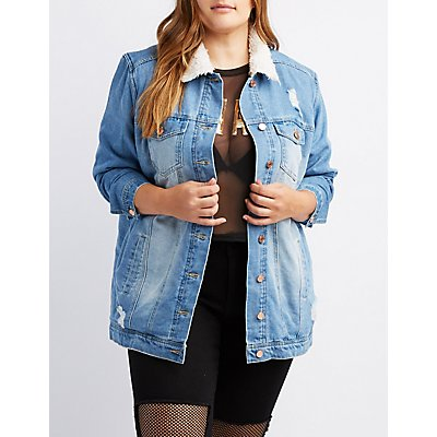 Plus Size Refuge Fleece Lined Denim Jacket