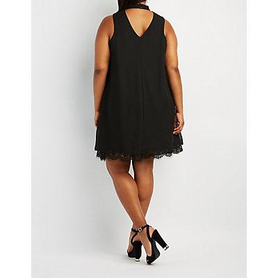 Plus Size Mock Neck Lace-Trim Hem Shift Dress
