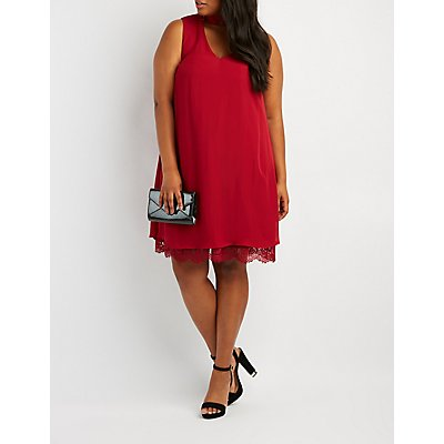 Plus Size Mock Neck Lace-Trim Hem Shift Dress