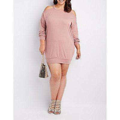 Plus Size Cold Shoulder Sweatshirt Dress