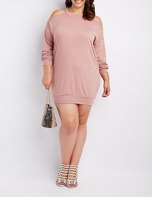 Plus Size Cold Shoulder Sweatshirt Dress | Charlotte Russe