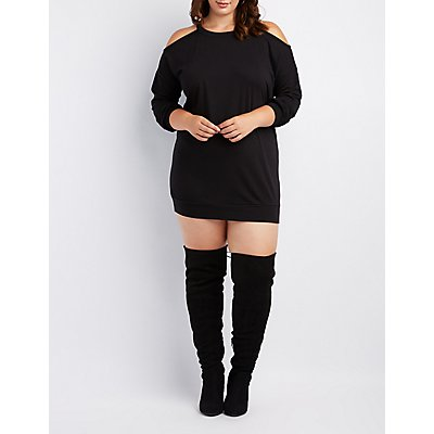 Plus Size Cold Shoulder Sweatshirt Dress