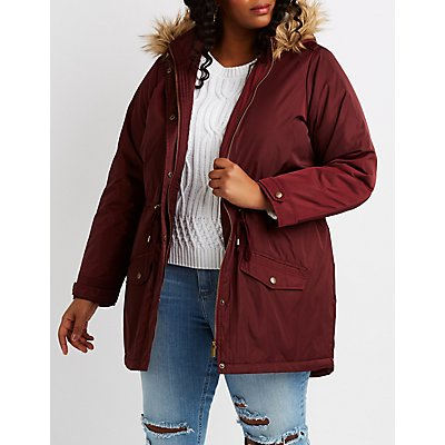 Plus Size Faux Fur-Trim Hooded Anorak Jacket