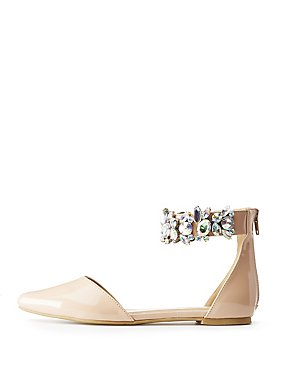 Pointed Toe Crystal-Trim D'Orsay Flats