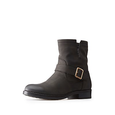 Faux Nubuck Buckled Ankle Boots