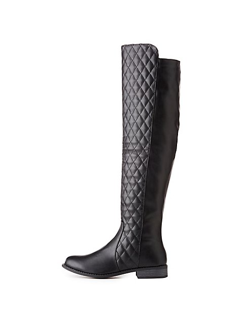 over quilted the french latest boots deals gg riding women groupon knee quilt goods blu s