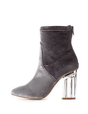 Velvet Clear Heel Ankle Booties