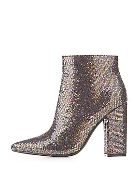 Sequins Pointed Toe Ankle Booties