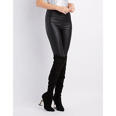 Metallic Heel Over-The-Knee Boots