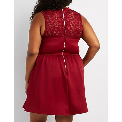 Plus Size Lace-Trim Choker Neck Skater Dress