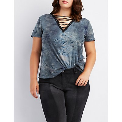 Plus Size Tie-Dye Lattice Boyfriend Tee