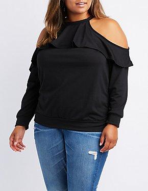 Plus Size Tiered Cold Shoulder Sweatshirt