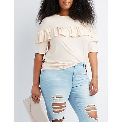 Plus Size Ruffle-Trim Tee