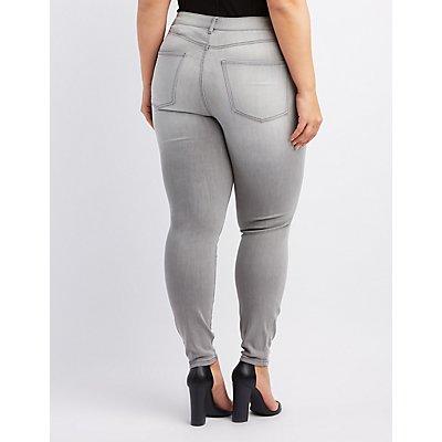 Plus Size Refuge Sequin-Inset Destroyed Skinny Jeans