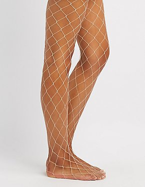 Metallic Exploded Fishnet Tights