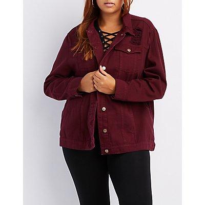 Plus Size Oversized  Distressed Denim Jacket