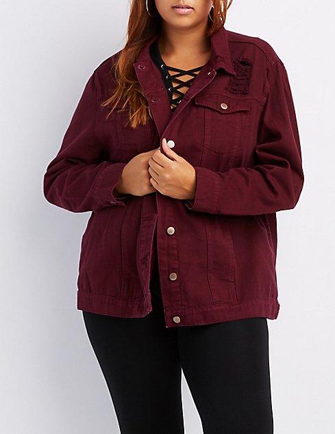fb14f3cd9ad Plus Size Oversized Distressed Denim Jacket ...