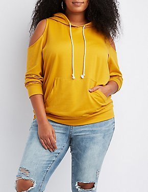Plus Size Cold Shoulder Drawstring Hoodie