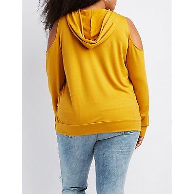 Plus Size Cold Shoulder Drawstring Hoodie