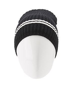 Striped Ribbed Knit Beanie