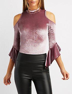 Velvet Cold Shoulder Bell Sleeve Top