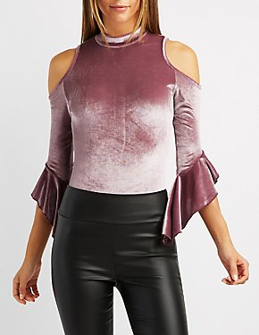 Velvet Cold Shoulder Bell Sleeve Top