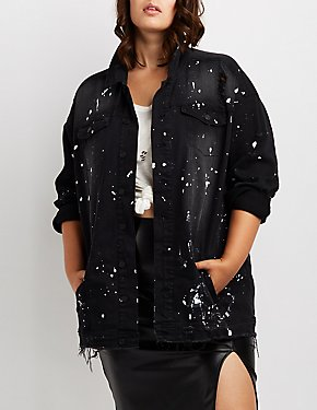 Plus Size Dollhouse Paint Splatter Denim Jacket