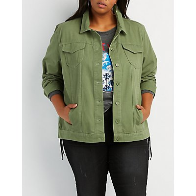 Plus Size Embroidered Twill Utility Jacket