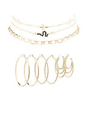 Embellished Hoop Earrings & Choker Necklaces - 6 Pack