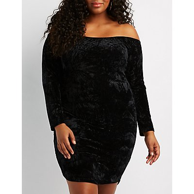 Plus Size Velvet Off-The-Shoulder Bodycon Dress