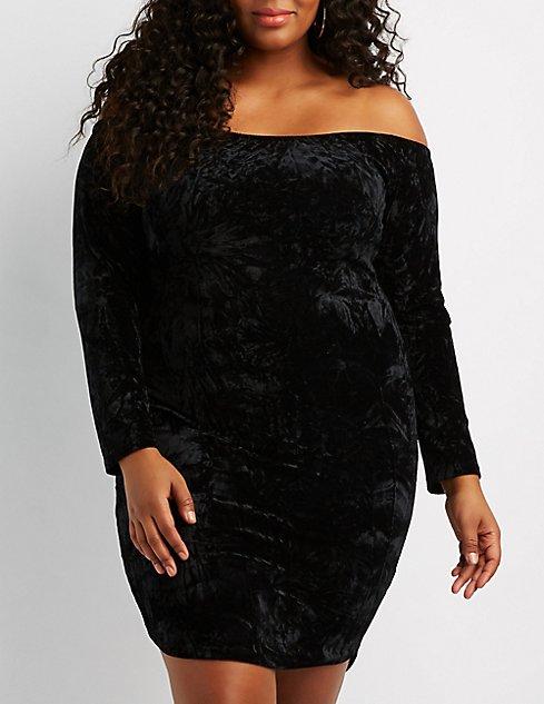 Plus Size Velvet Off-The-Shoulder Bodycon Dress | Charlotte ...