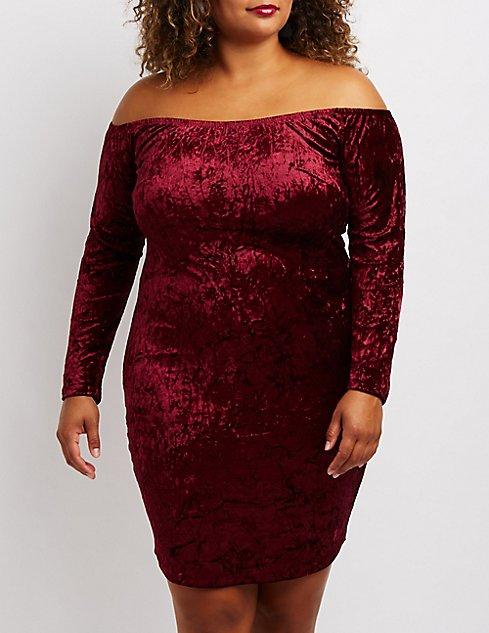 Plus Size Velvet Off The Shoulder Bodycon Dress Charlotte Russe