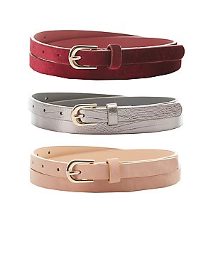 Velvet, Stamped & Faux Leather Belts - 3 Pack