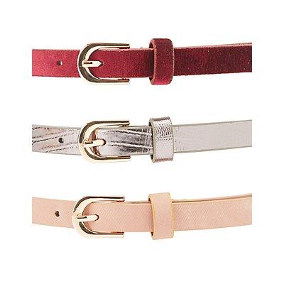 Velvet, Stamped & Faux Leather Belts - 3 Pack