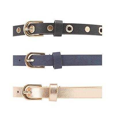 Grommet & Faux Leather Belts - 3 Pack