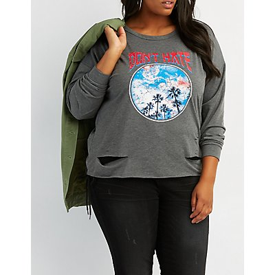 Don't Hate Destroyed Graphic Sweatshirt