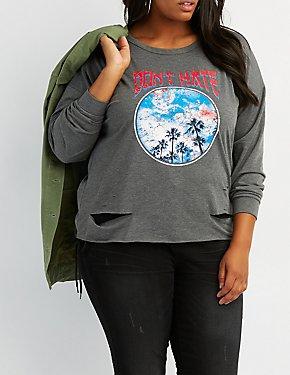Don't Hate Destroyed Graphic Sweatshirt