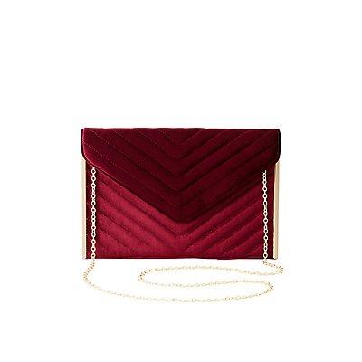 Quilted Velvet Convertible Crossbody Bag