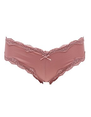 Scalloped Lace-Trim Caged Cheeky Panties