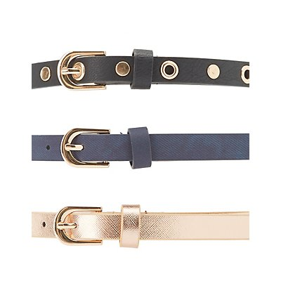 Plus Size Grommet & Faux Leather Belts - 3 Pack