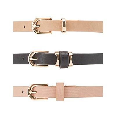 Plus Size Laser Cut & Faux Leather Belts - 3 Pack