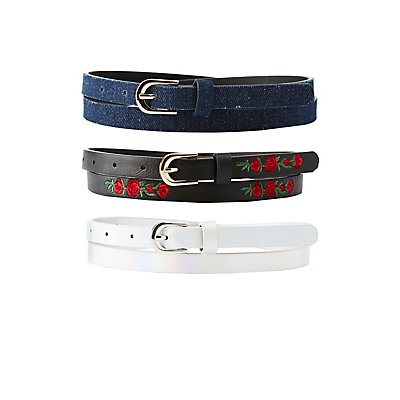 Plus Size Embroidered, Holographic, & Denim Belts - 3 Pack